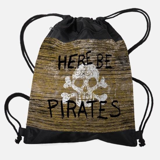 HERE-BE-PIRATES_7p5x7p5.jpg Drawstring Bag