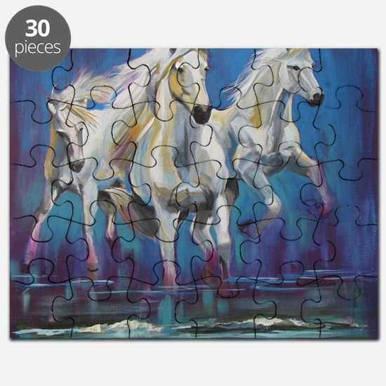 White Horses Running on Beach Puzzle