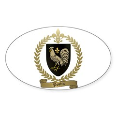 POULIN Family Crest Oval Decal