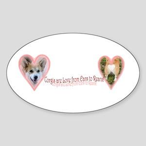 Welsh Corgi Valentine Oval Sticker