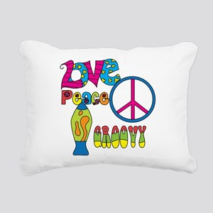 Love Peace Lava Lamp Rectangular Canvas Pillow