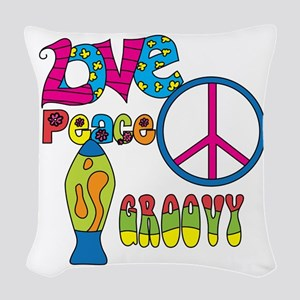 Love Peace Lava Lamp Woven Throw Pillow
