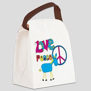 Love Peace Horses Canvas Lunch Bag