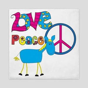 Love Peace Horses Queen Duvet