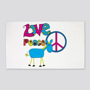 Love Peace Horses 3'x5' Area Rug