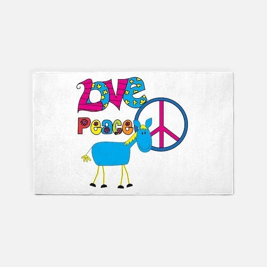 Love Peace Horses 3'x5' Area Rug