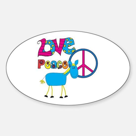 Love Peace Horses Sticker (Oval)