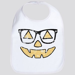 Vintage Jack-O-Lantern With Glasses Halloween Bib