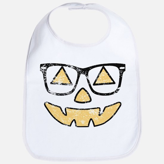 Vintage Jack-O-Lantern With Glasses Halloween Bib