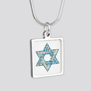 Gems and Sparkles Hanukkah Silver Square Necklace