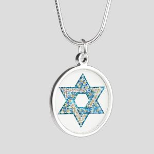 Gems and Sparkles Hanukkah Silver Round Necklace