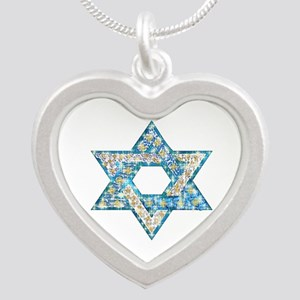 Gems and Sparkles Hanukkah Silver Heart Necklace