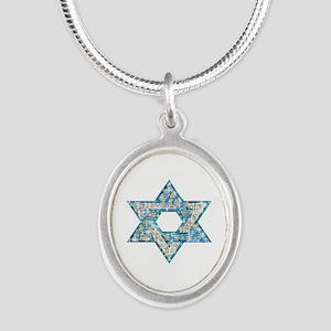 Gems and Sparkles Hanukkah Silver Oval Necklace