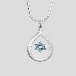Gems and Sparkles Hanukkah Silver Teardrop Necklac