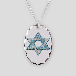 Gems and Sparkles Hanukkah Necklace Oval Charm