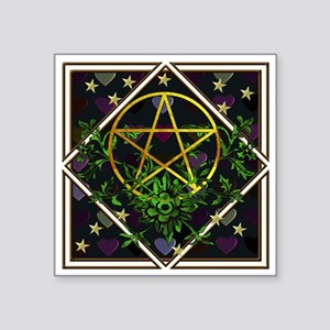 "Wiccan Pentacle and Greens Square Sticker 3"" x 3"""