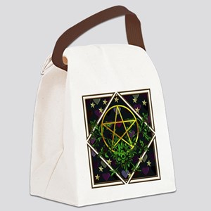 Wiccan Pentacle and Greens Canvas Lunch Bag