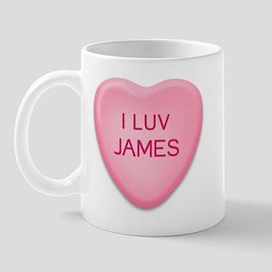 I Luv JAMES Candy Heart Mug