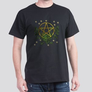 Wiccan Pentacle and Greens Dark T-Shirt