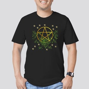 Wiccan Pentacle and Gr Men's Fitted T-Shirt (dark)