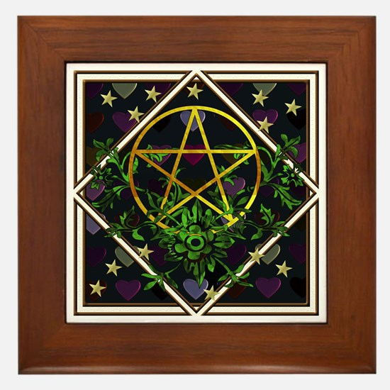 Wiccan Pentacle and Greens Framed Tile