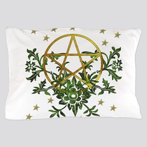 Wiccan Pentacle and Greens Pillow Case