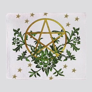 Wiccan Pentacle and Greens Throw Blanket