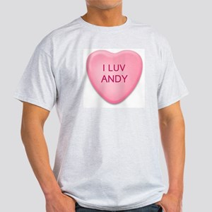 I Luv ANDY Candy Heart Ash Grey T-Shirt