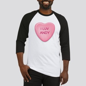I Luv ANDY Candy Heart Baseball Jersey