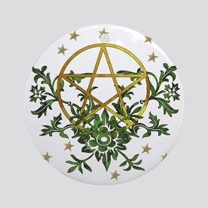 Wiccan Pentacle and Greens Round Ornament
