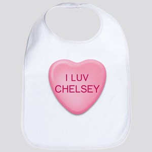 I Luv CHELSEY Candy Heart Bib
