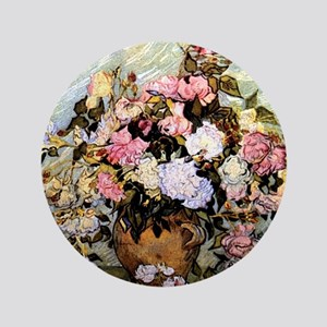 "Van Gogh - Still Life Vase with Roses 3.5"" Button"