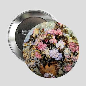"Van Gogh - Still Life Vase with Roses 2.25"" Button"