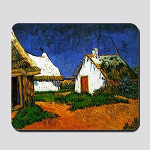 Van Gogh - Three White Cottages in Saint Mousepad