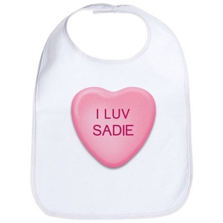 I Luv SADIE Candy Heart Bib