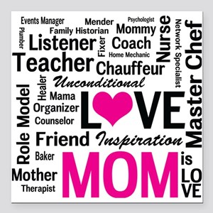 "Mom is Love - Birthday,  Square Car Magnet 3"" x 3"""