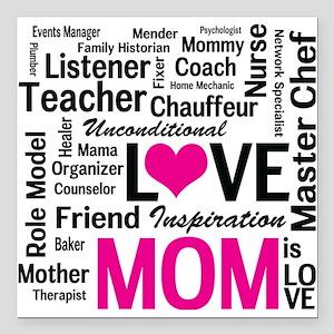 "Mom is Love - Birthday,  Square Car Magnet 3"" x 3"""