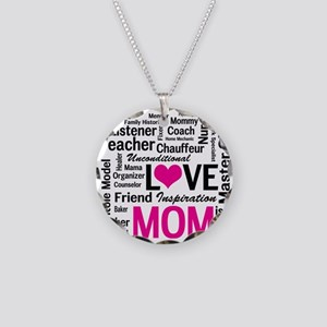 Mom is Love - Birthday, Moth Necklace Circle Charm