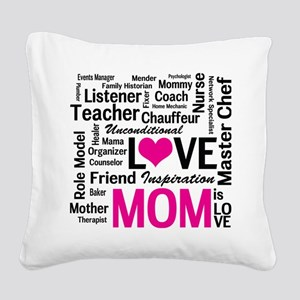 Mom is Love - Birthday, Mothe Square Canvas Pillow