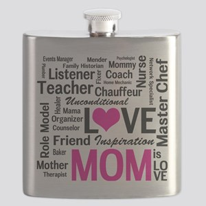 Mom is Love - Birthday, Mothers Day Flask