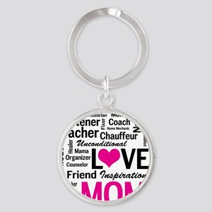 Mom is Love - Birthday, Mothers Day Round Keychain