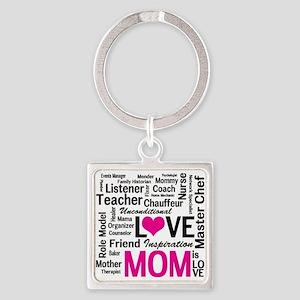 Mom is Love - Birthday, Mothers Da Square Keychain