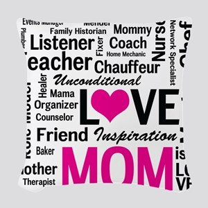 Mom is Love - Birthday, Mother Woven Throw Pillow