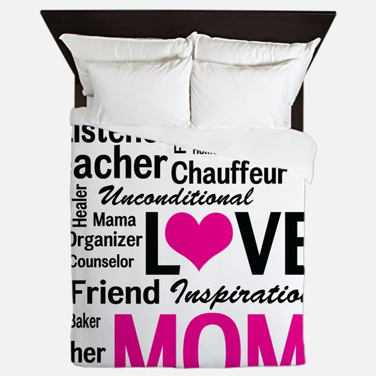 Mom is Love - Birthday, Mothers Day Queen Duvet