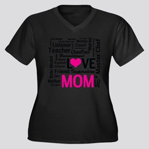 Mom is Love  Women's Plus Size Dark V-Neck T-Shirt
