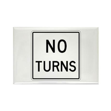 No Turns - USA Rectangle Magnet