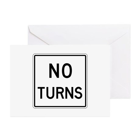 No Turns - USA Greeting Cards (Pk of 10)