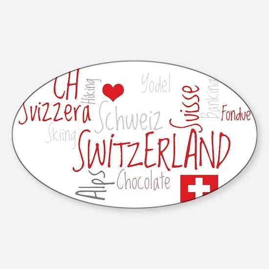 I Love Switzerland - For Dark Cloth Sticker (Oval)
