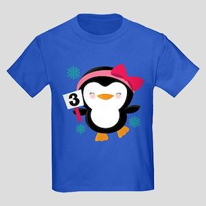 3rd Birthday Penguin Kids Dark T-Shirt