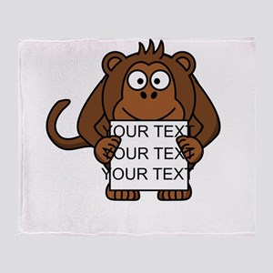 Custom Text Monkey Holding Sign Throw Blanket